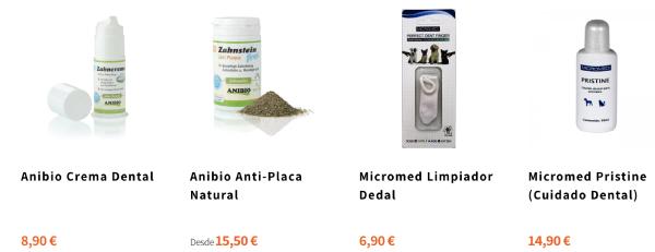 productos de Animalnatura para el cuidado dental
